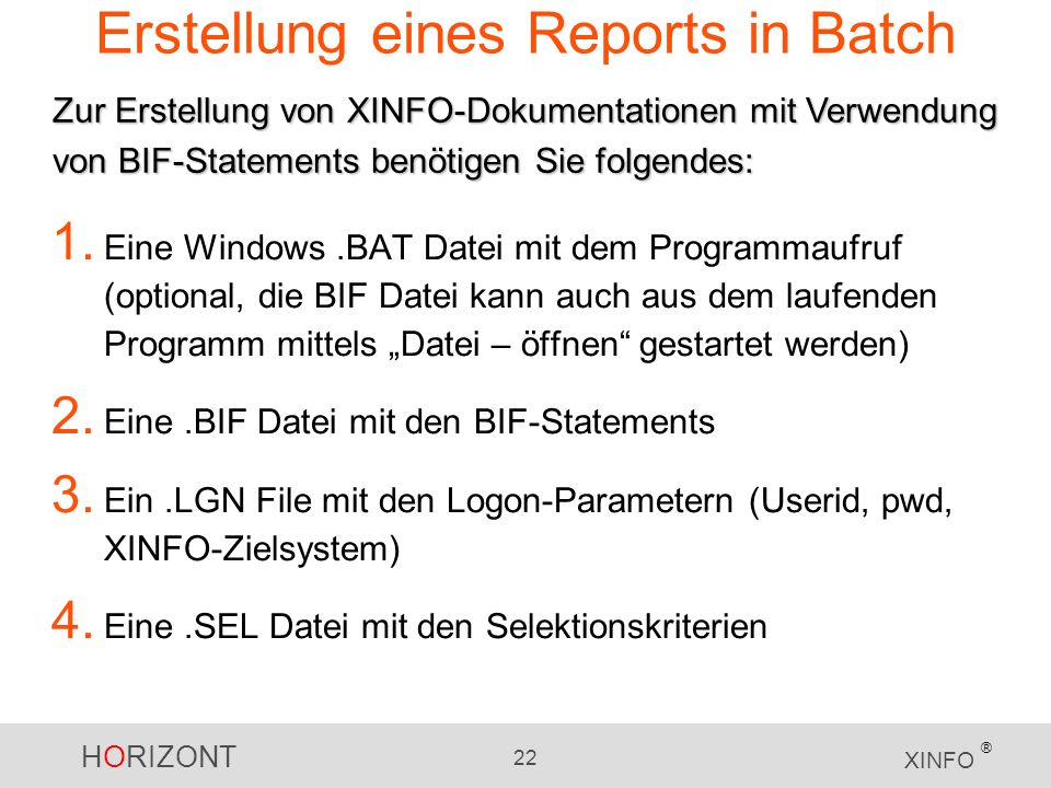 Erstellung eines Reports in Batch