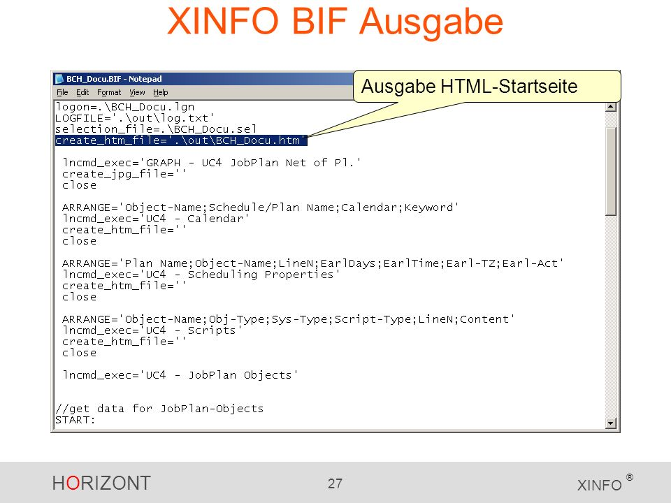 XINFO BIF Ausgabe Ausgabe HTML-Startseite