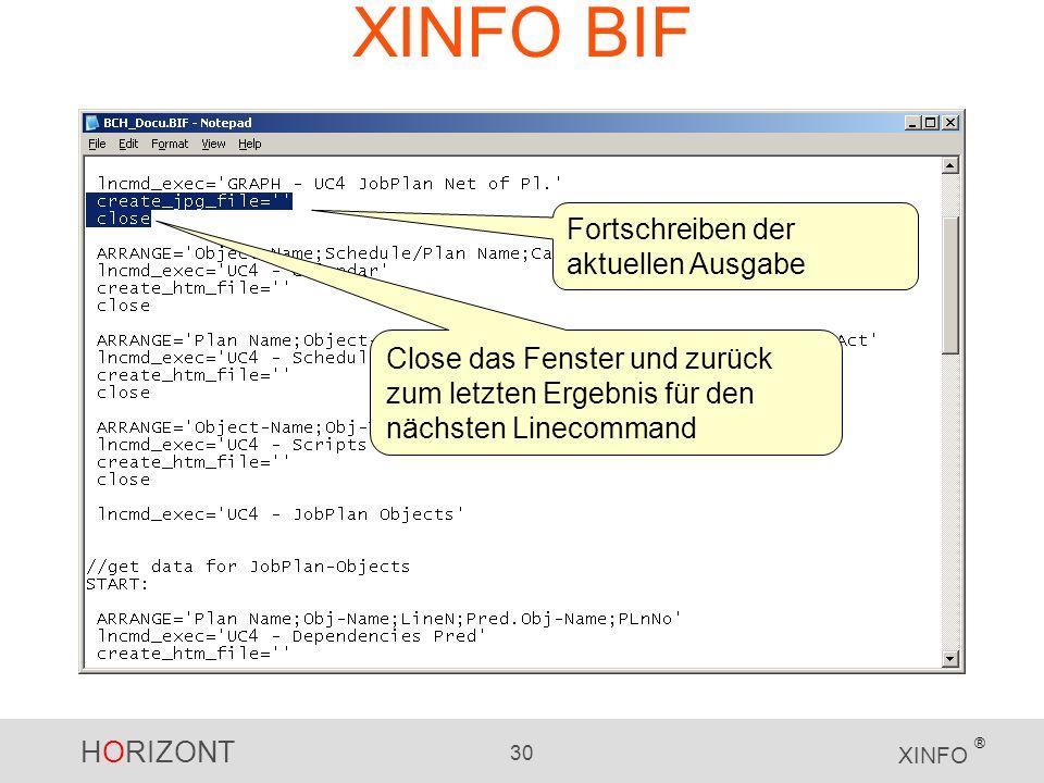 XINFO BIF Fortschreiben der aktuellen Ausgabe