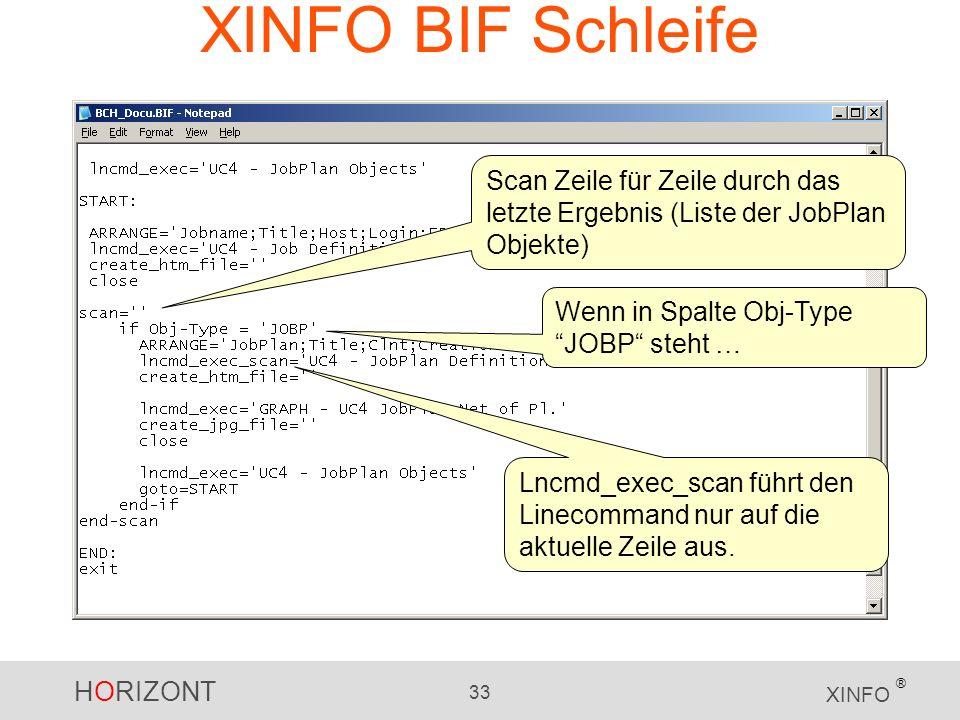 XINFO BIF Schleife Scan Zeile für Zeile durch das letzte Ergebnis (Liste der JobPlan Objekte) Wenn in Spalte Obj-Type JOBP steht …