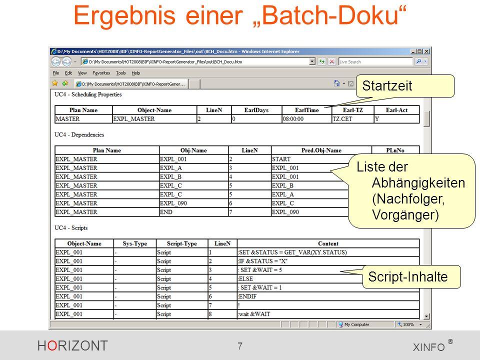 """Ergebnis einer """"Batch-Doku"""