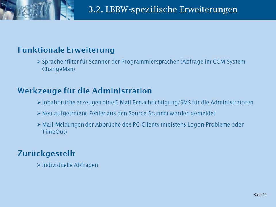 3.2. LBBW-spezifische Erweiterungen