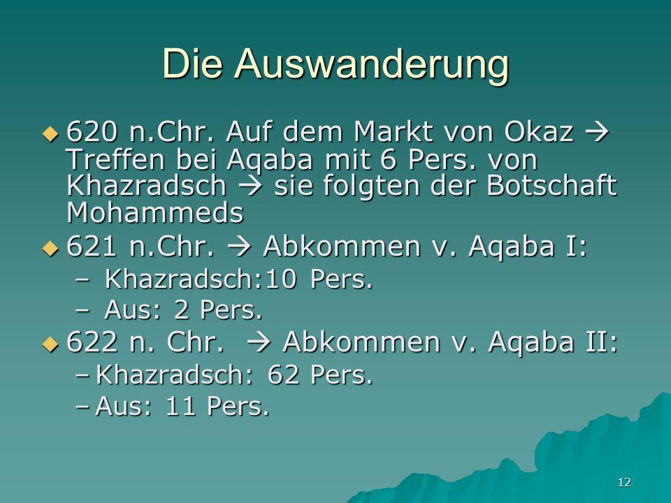 Die Auswanderung 620 n.Chr. Auf dem Markt von Okaz  Treffen bei Aqaba mit 6 Pers. von Khazradsch  sie folgten der Botschaft Mohammeds.