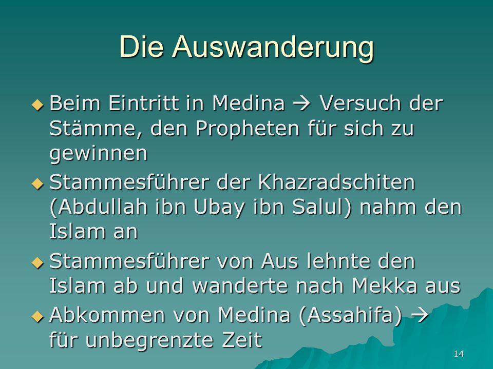 Die Auswanderung Beim Eintritt in Medina  Versuch der Stämme, den Propheten für sich zu gewinnen.