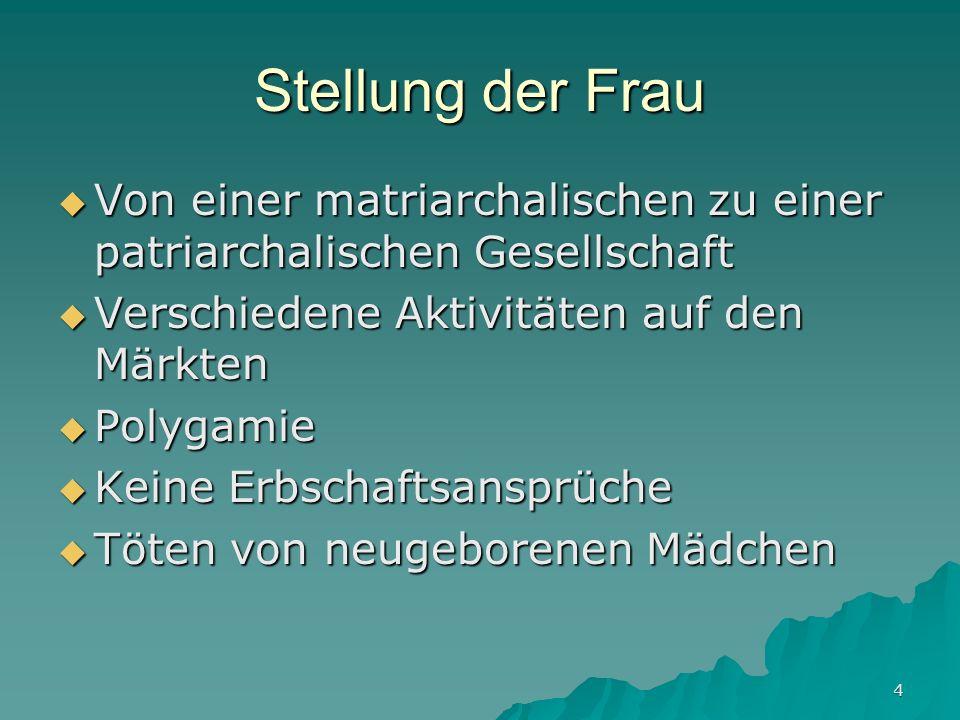 Stellung der Frau Von einer matriarchalischen zu einer patriarchalischen Gesellschaft. Verschiedene Aktivitäten auf den Märkten.