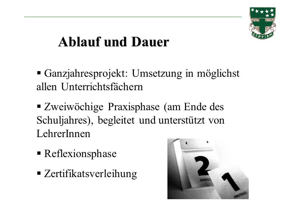 Ablauf und Dauer Ganzjahresprojekt: Umsetzung in möglichst allen Unterrichtsfächern.