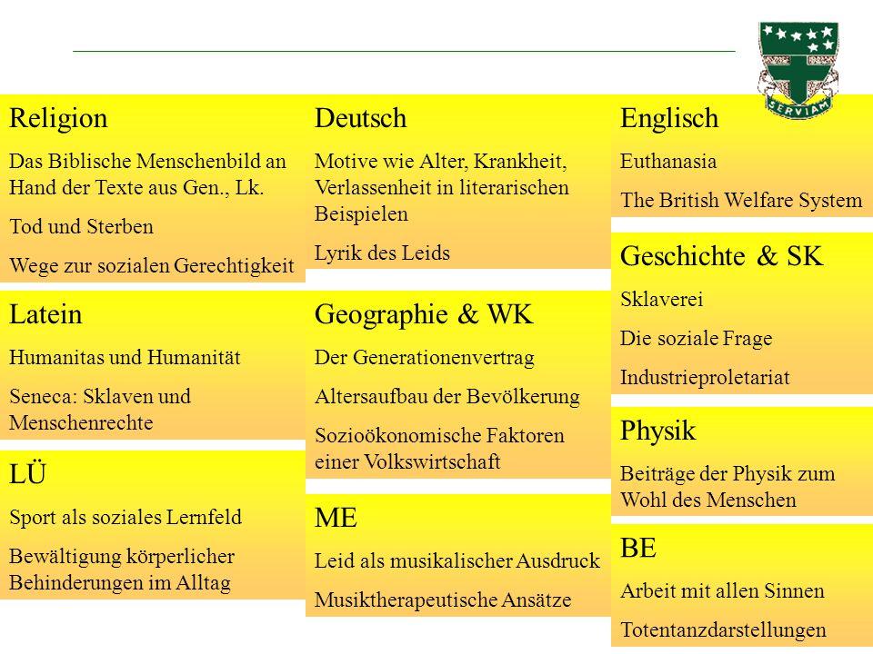 Religion Deutsch Englisch Geschichte & SK Latein Geographie & WK