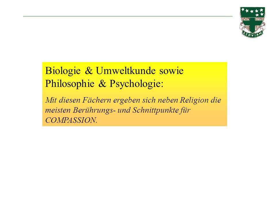 Biologie & Umweltkunde sowie Philosophie & Psychologie: