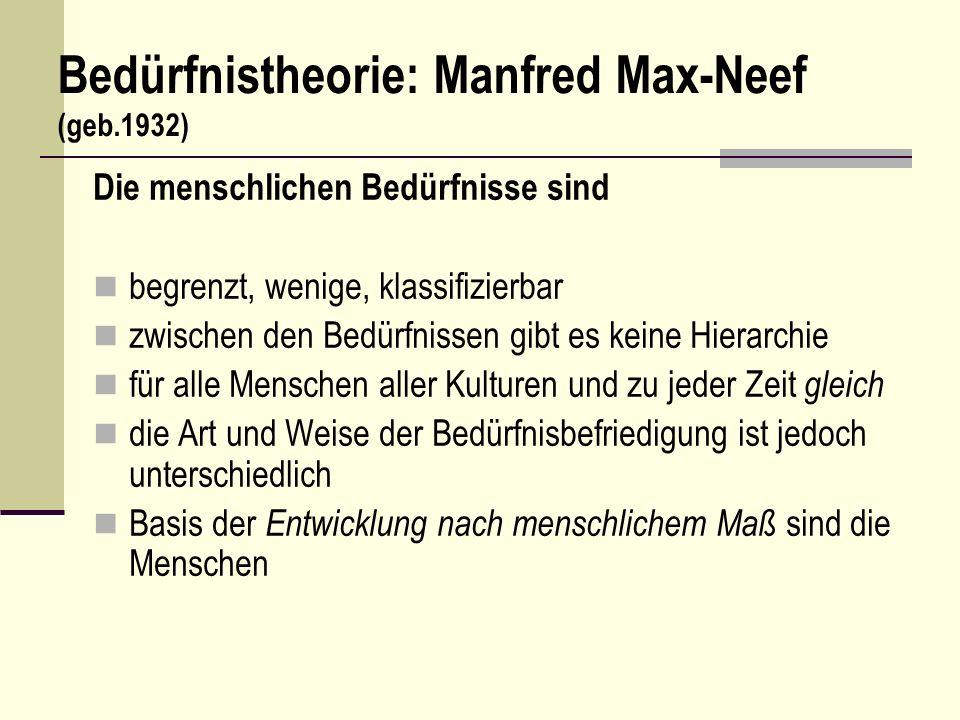 Bedürfnistheorie: Manfred Max-Neef (geb.1932)