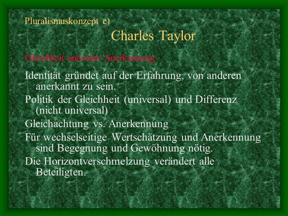 Pluralismuskonzept c) Charles Taylor