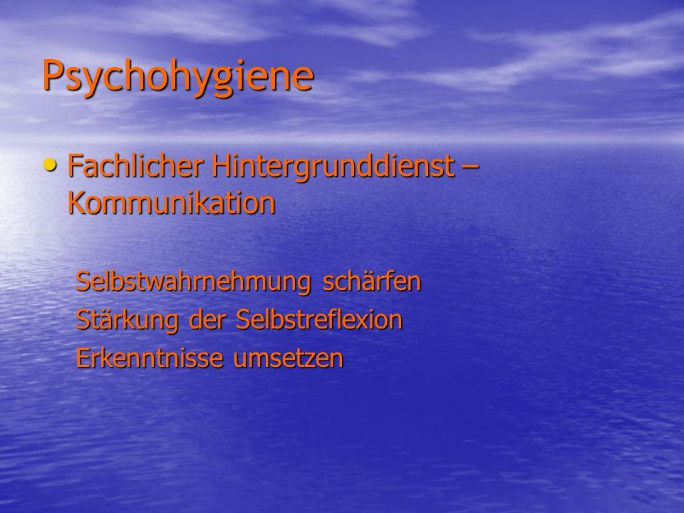 Psychohygiene Fachlicher Hintergrunddienst – Kommunikation