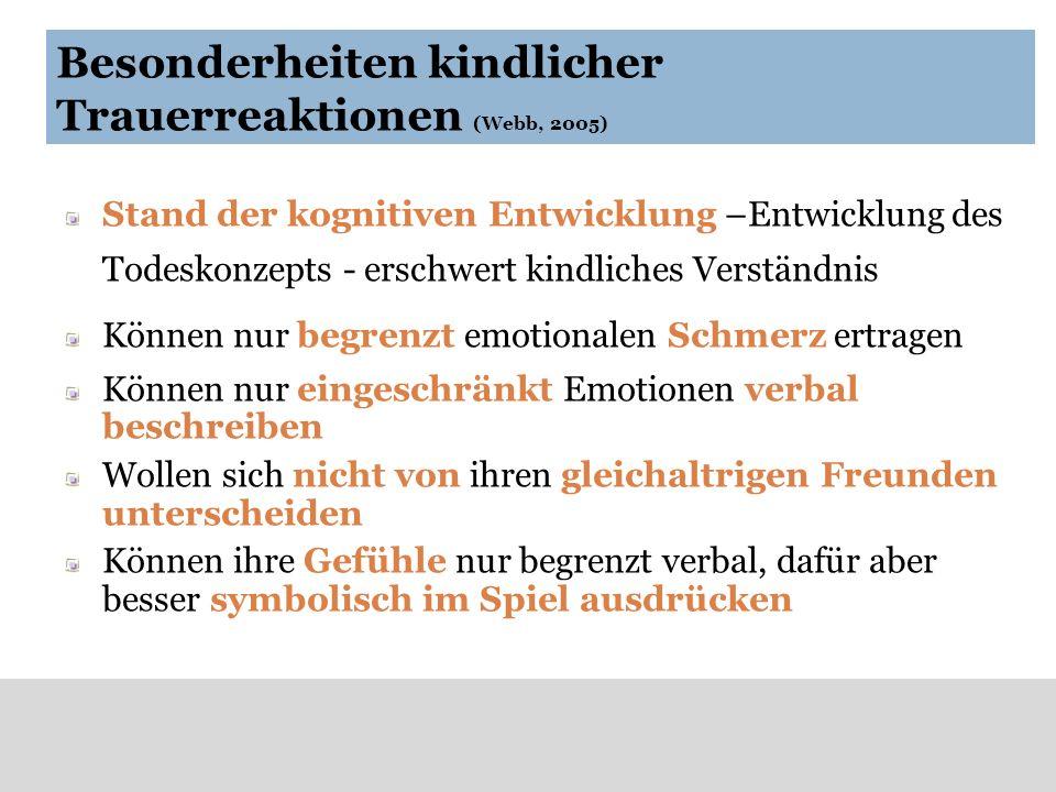 Besonderheiten kindlicher Trauerreaktionen (Webb, 2005)