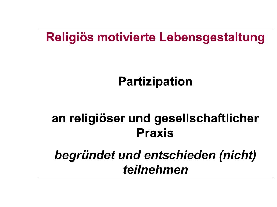 Religiös motivierte Lebensgestaltung