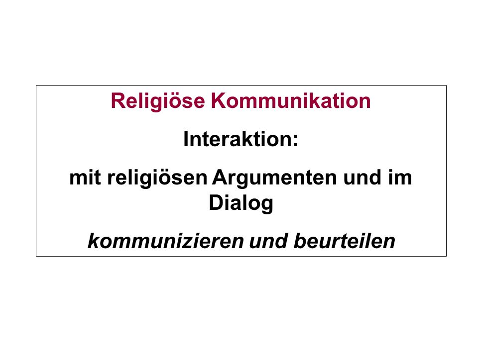 Religiöse Kommunikation Interaktion: