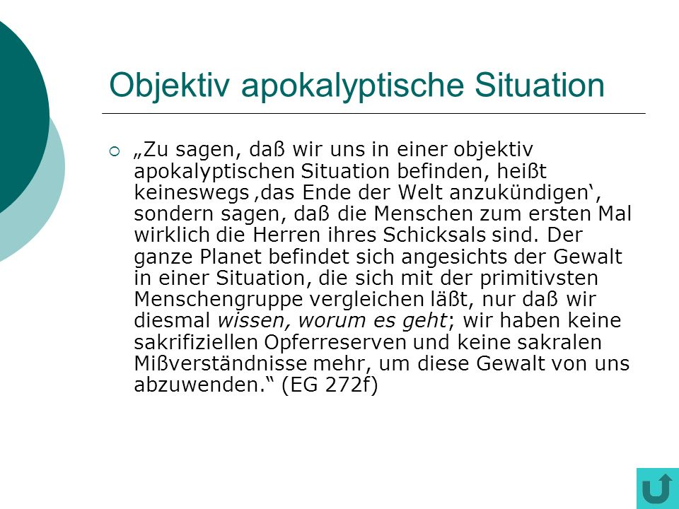 Objektiv apokalyptische Situation