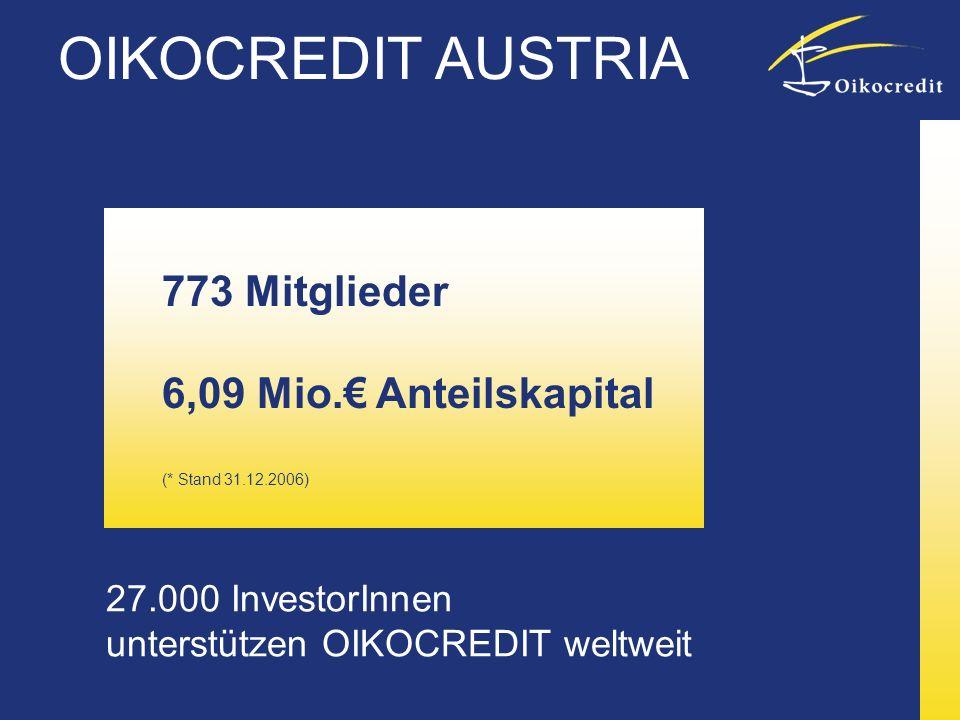 OIKOCREDIT AUSTRIA 773 Mitglieder 6,09 Mio.€ Anteilskapital