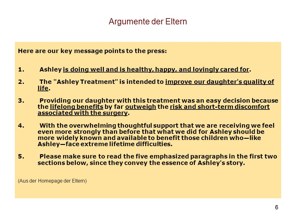Argumente der Eltern Here are our key message points to the press: