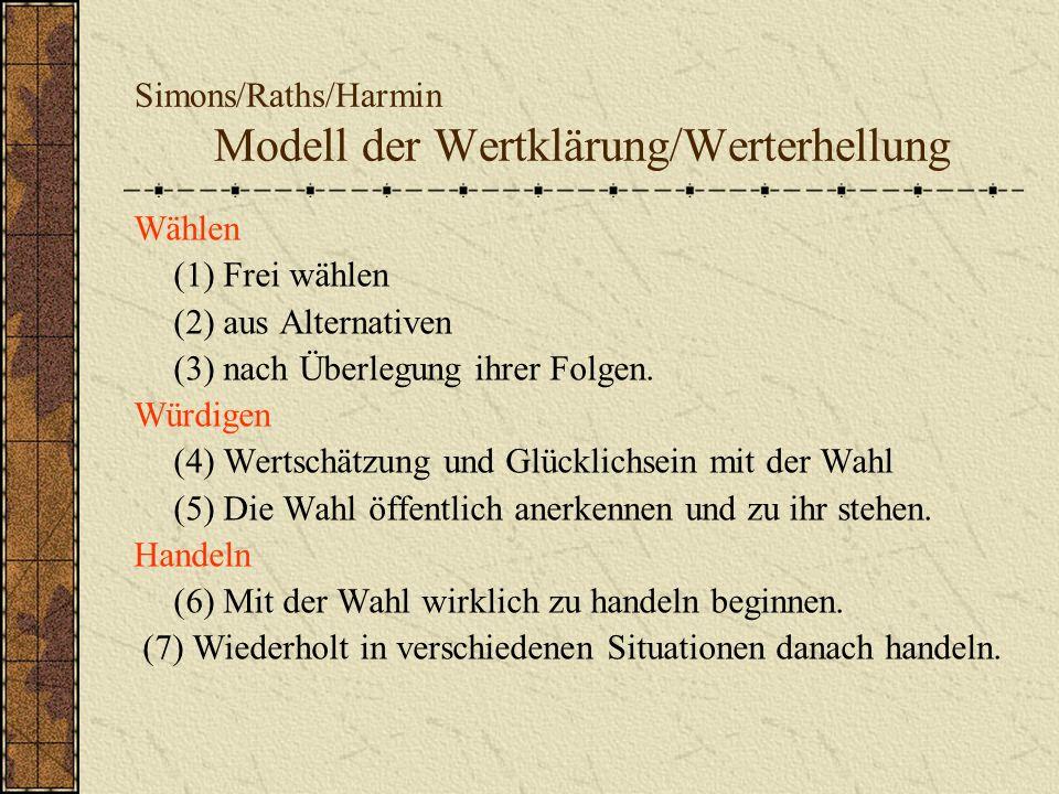Simons/Raths/Harmin Modell der Wertklärung/Werterhellung