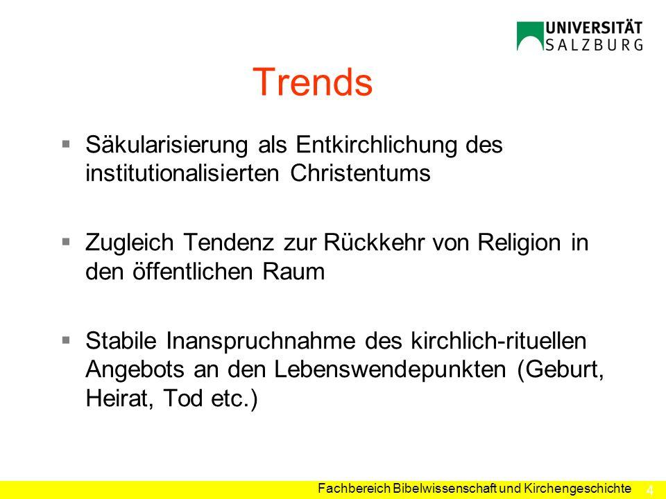 Trends Säkularisierung als Entkirchlichung des institutionalisierten Christentums.