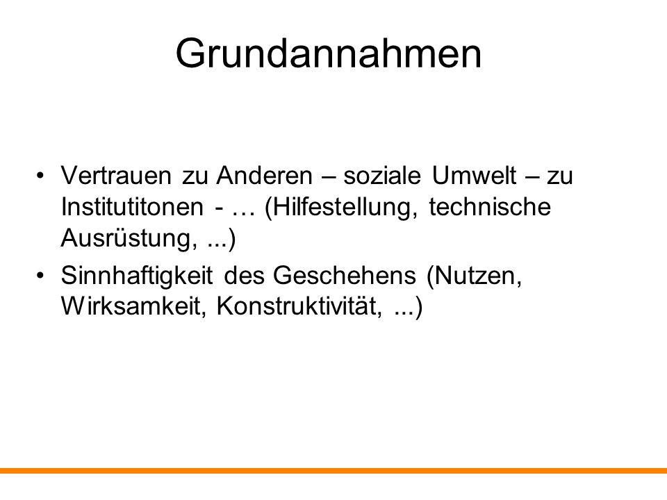 Grundannahmen Vertrauen zu Anderen – soziale Umwelt – zu Institutitonen - … (Hilfestellung, technische Ausrüstung, ...)