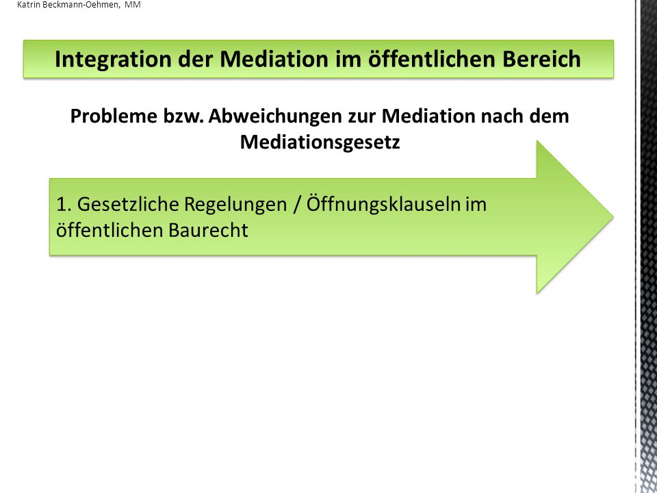 Integration der Mediation im öffentlichen Bereich