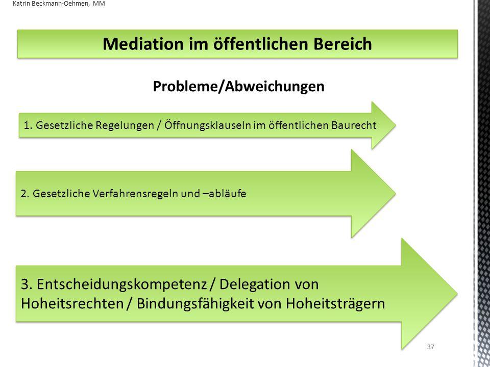 Mediation im öffentlichen Bereich Probleme/Abweichungen