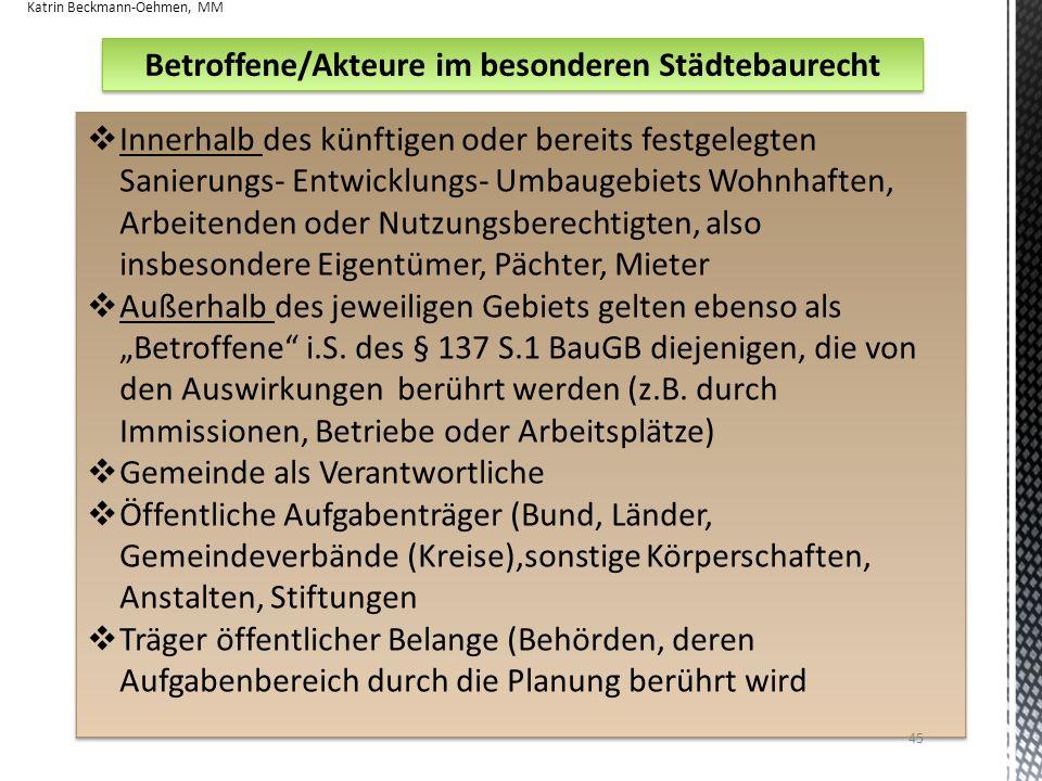 Betroffene/Akteure im besonderen Städtebaurecht