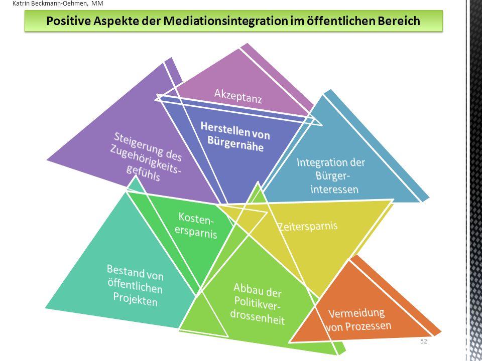 Positive Aspekte der Mediationsintegration im öffentlichen Bereich