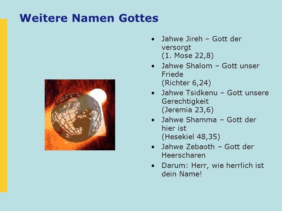 Weitere Namen Gottes Jahwe Jireh – Gott der versorgt (1. Mose 22,8)