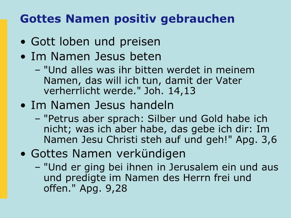 Gottes Namen positiv gebrauchen