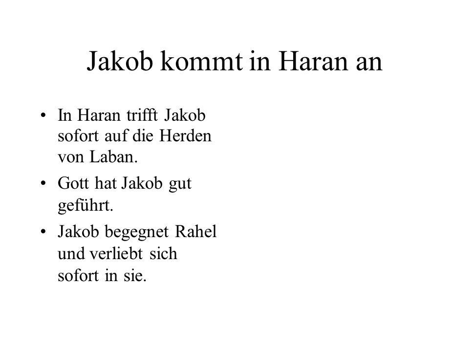 Jakob kommt in Haran an In Haran trifft Jakob sofort auf die Herden von Laban. Gott hat Jakob gut geführt.