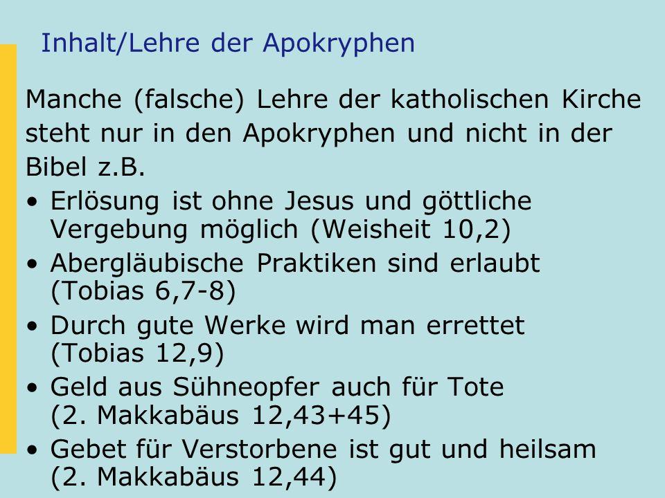 Inhalt/Lehre der Apokryphen