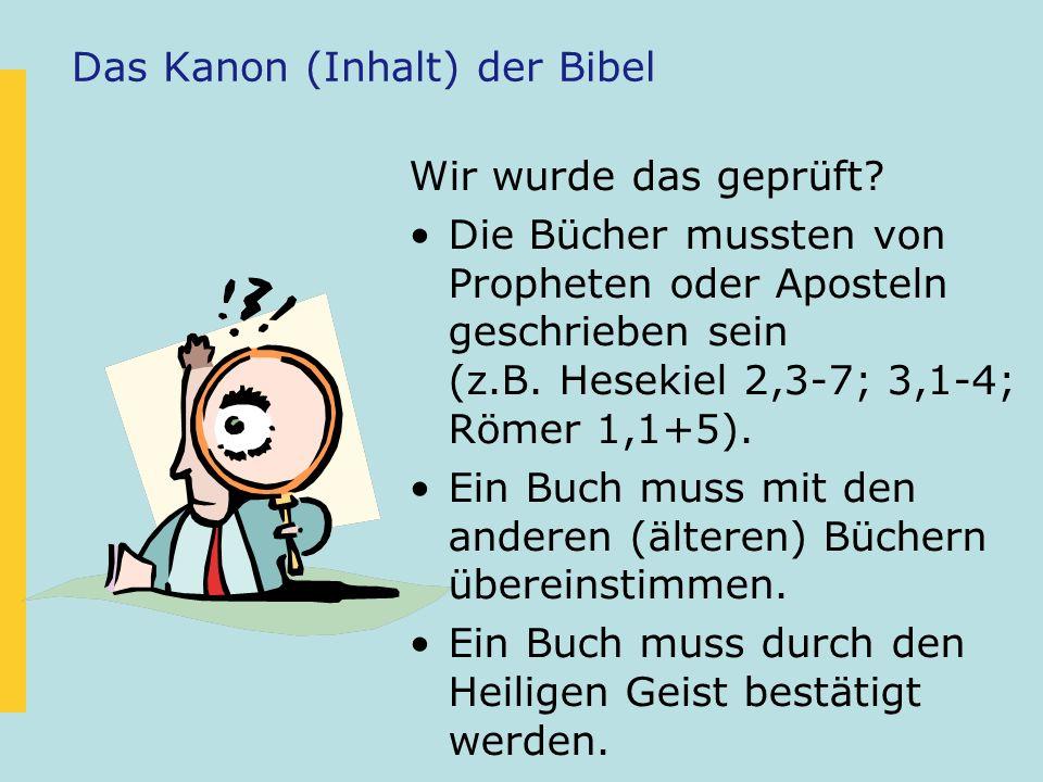 Das Kanon (Inhalt) der Bibel