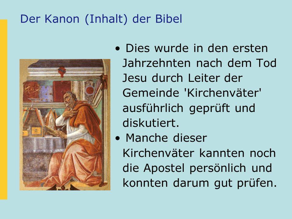 Der Kanon (Inhalt) der Bibel