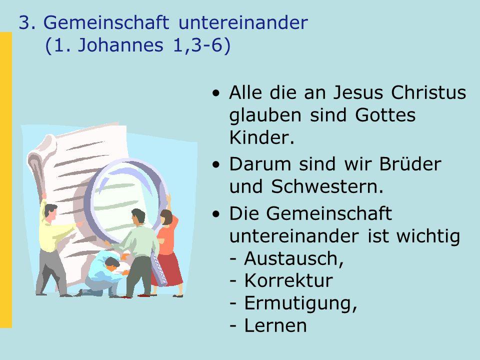 3. Gemeinschaft untereinander (1. Johannes 1,3-6)