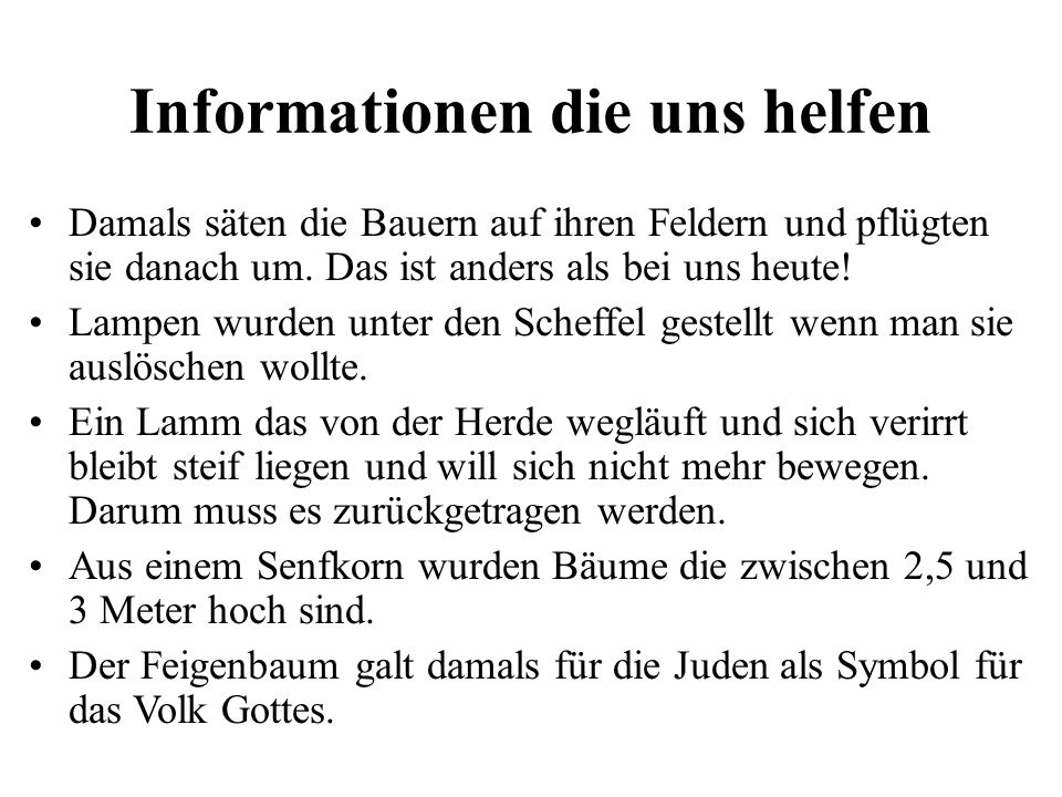 Informationen die uns helfen