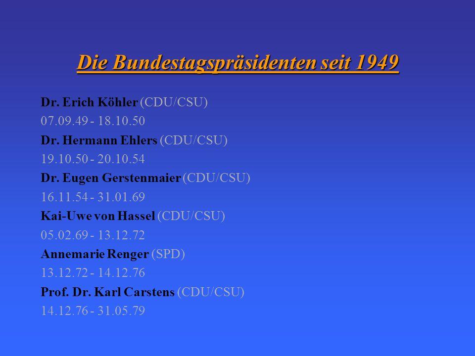 Die Bundestagspräsidenten seit 1949