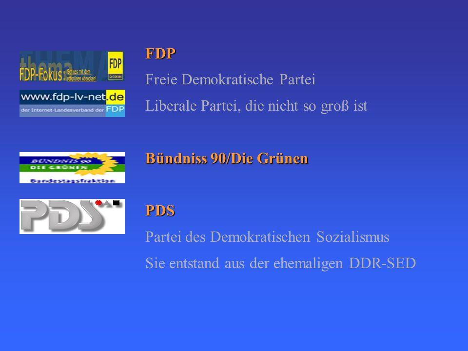 FDP Freie Demokratische Partei. Liberale Partei, die nicht so groß ist. Bündniss 90/Die Grünen. PDS.