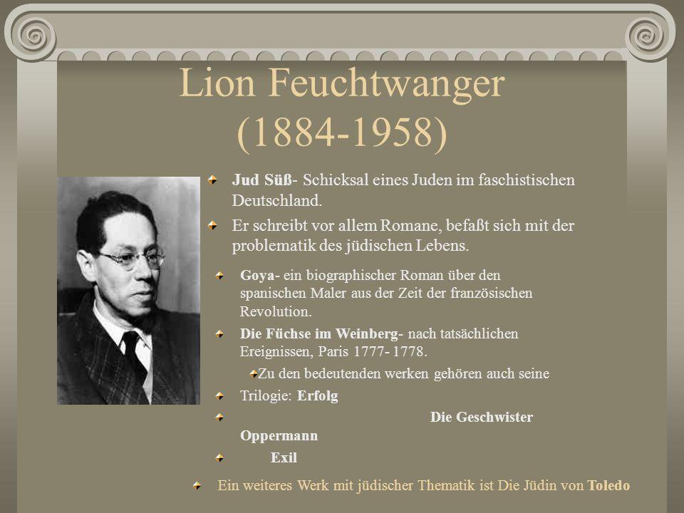 Lion Feuchtwanger (1884-1958) Jud Süß- Schicksal eines Juden im faschistischen Deutschland.