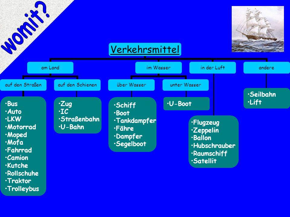 womit Seilbahn Lift Zug Schiff U-Boot IC Boot Straßenbahn Tankdampfer