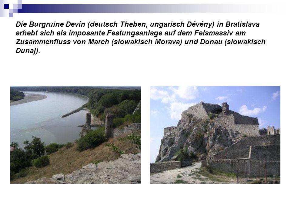 Die Burgruine Devín (deutsch Theben, ungarisch Dévény) in Bratislava erhebt sich als imposante Festungsanlage auf dem Felsmassiv am Zusammenfluss von March (slowakisch Morava) und Donau (slowakisch Dunaj).