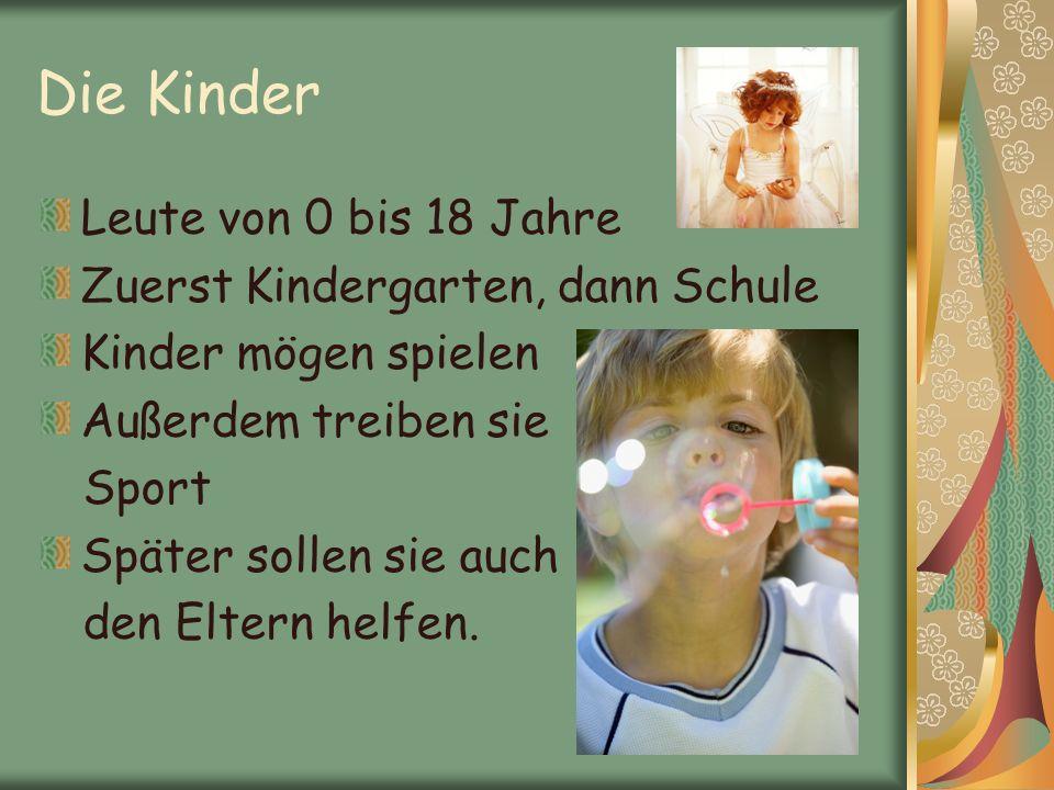 Die Kinder Leute von 0 bis 18 Jahre Zuerst Kindergarten, dann Schule