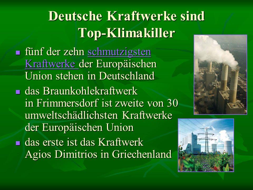 Deutsche Kraftwerke sind Top-Klimakiller