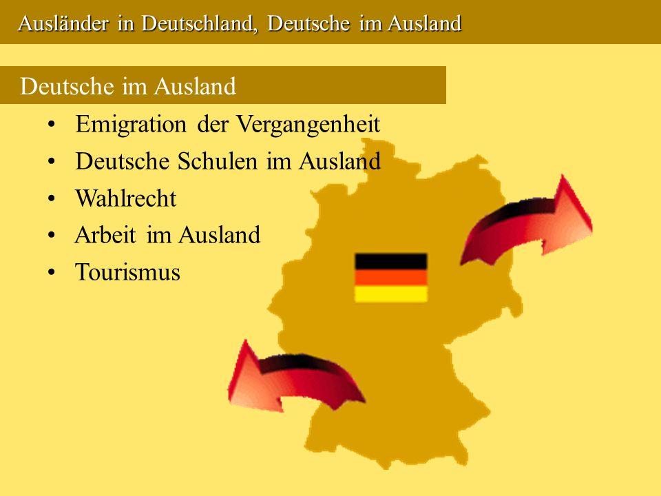 Emigration der Vergangenheit Deutsche Schulen im Ausland Wahlrecht