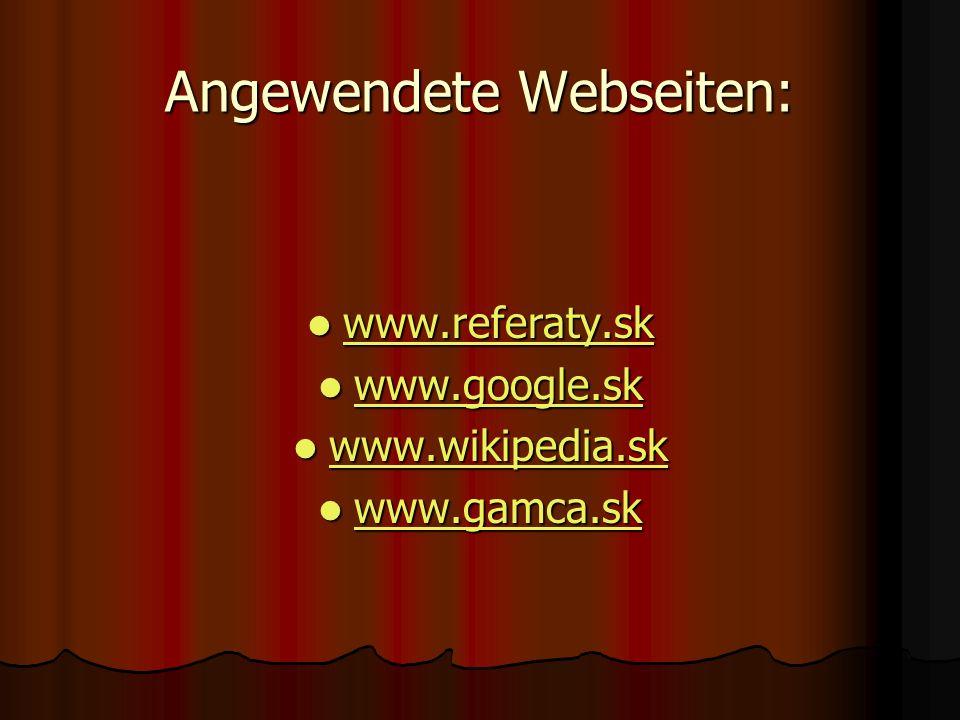 Angewendete Webseiten: