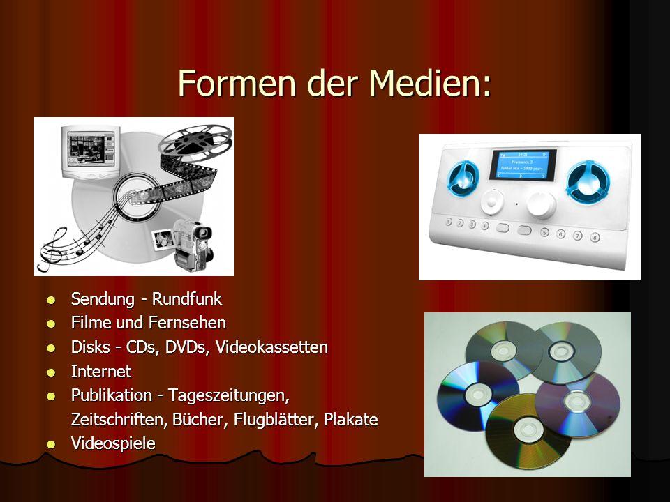 Formen der Medien: Sendung - Rundfunk Filme und Fernsehen