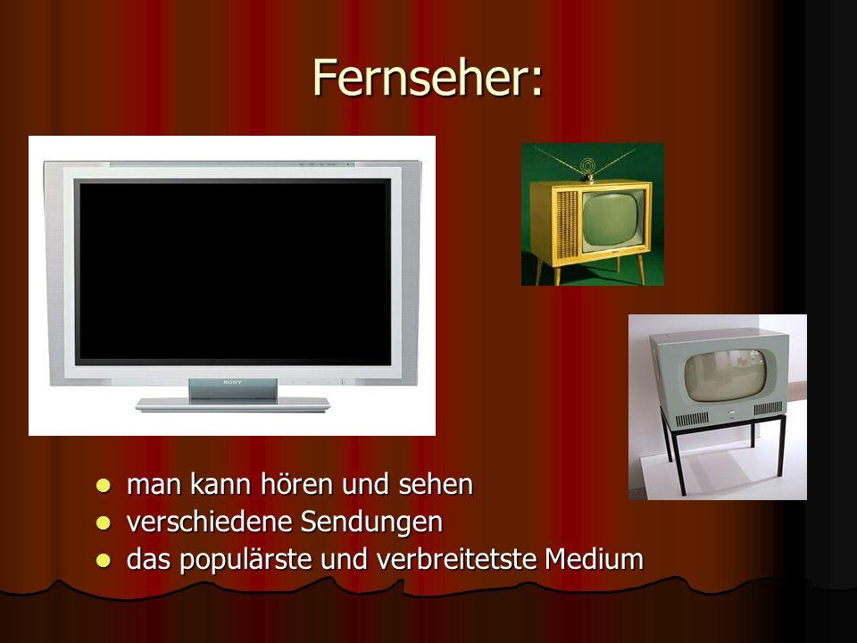 Fernseher: man kann hören und sehen verschiedene Sendungen