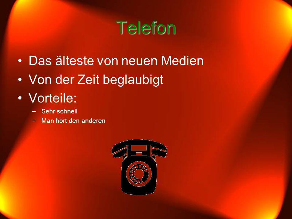 Telefon Das älteste von neuen Medien Von der Zeit beglaubigt Vorteile: