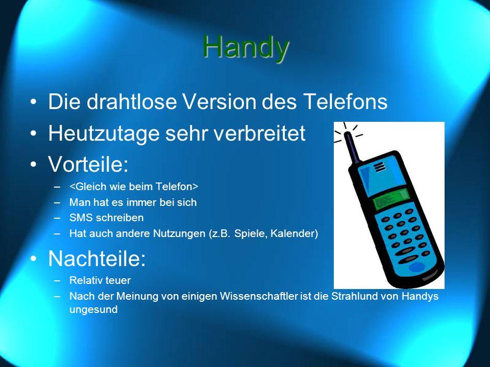 Handy Die drahtlose Version des Telefons Heutzutage sehr verbreitet