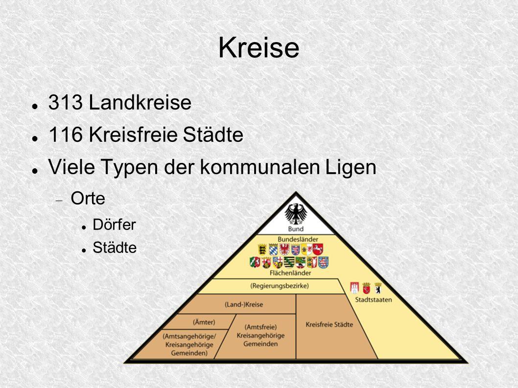 Kreise 313 Landkreise 116 Kreisfreie Städte